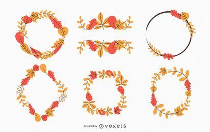 Colección de coronas de hojas de otoño.