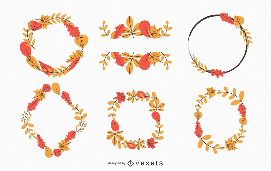 Autumn leaves wreaths collection