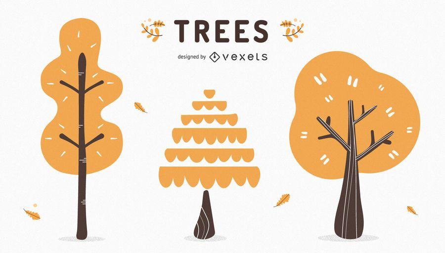 Simple autumn trees set