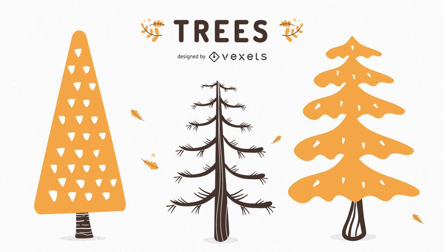 Fall trees set
