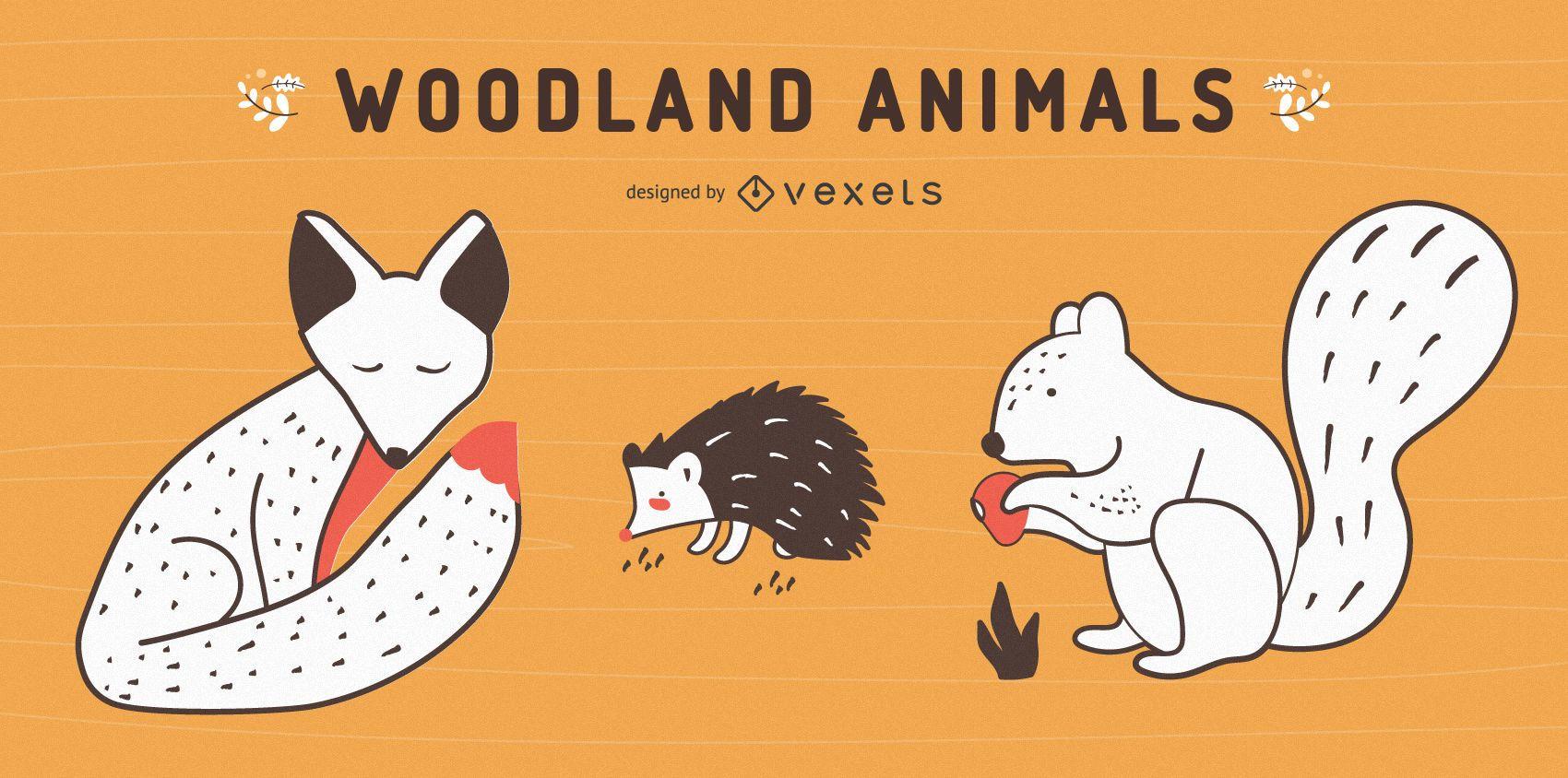 Woodland animals set