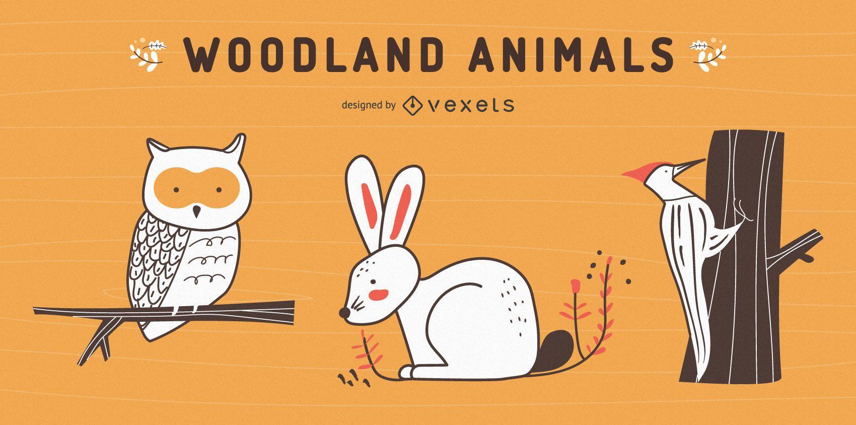 Conjunto de animales del bosque dibujados a mano