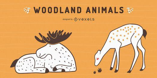 Moose and deer vector set