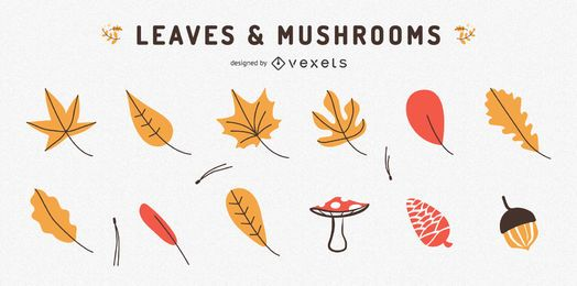 Coleção de folhas e cogumelos