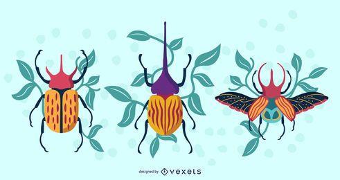 Ilustração artística de besouros