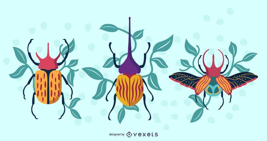 Artistic Beetles Illustration