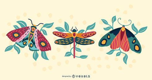 Ilustração artística de insetos