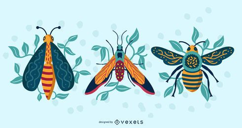 Pacote de vetores de vista superior de insetos coloridos