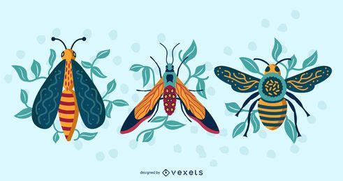 Paquete de vectores de vista superior de insectos coloridos