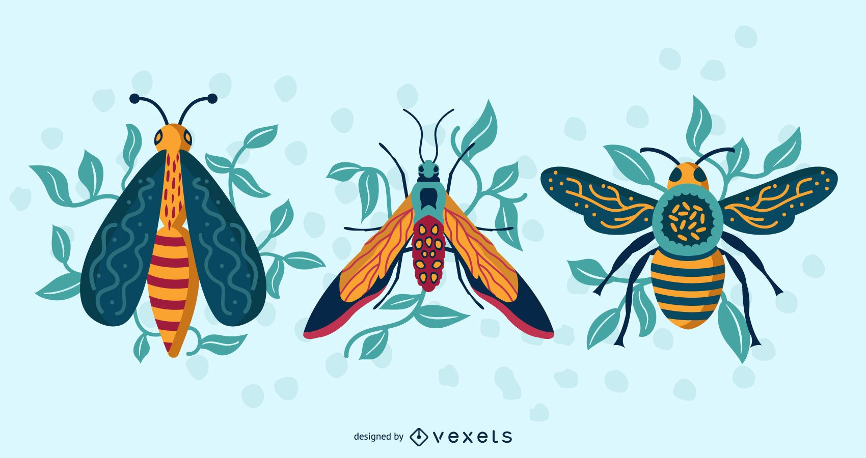 Colorful Insects Top View Vector Pack