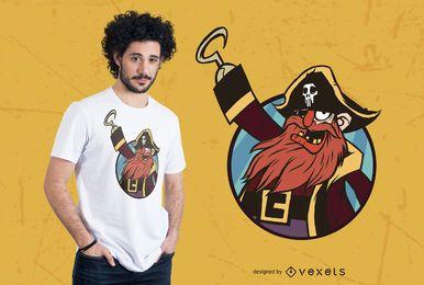 Diseño de camiseta con ilustración de pirata