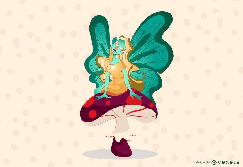 Mushroom fairy illustration