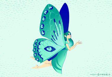 Ilustración de vuelo de hada mariposa
