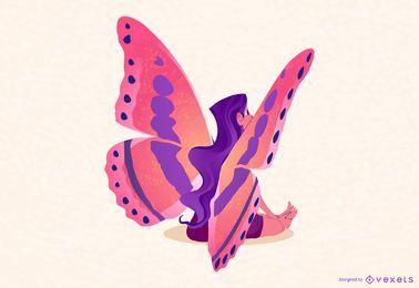 Ilustración de hada mariposa