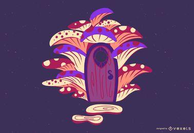 Ilustração de casa de fada