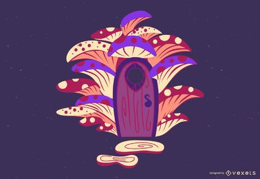 Ilustración de casa de hadas