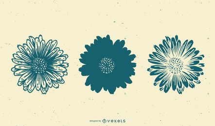 Set de girasoles dibujados a mano
