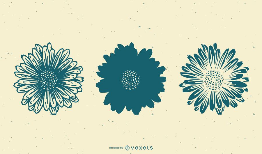 Hand drawn sunflowers set