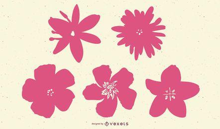 Conjunto de silhuetas de flores