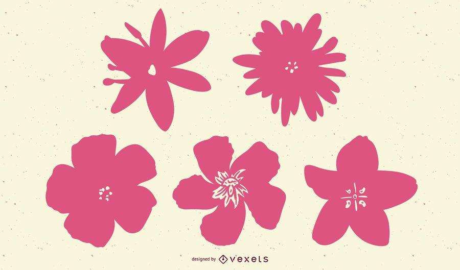 Conjunto de siluetas de flores