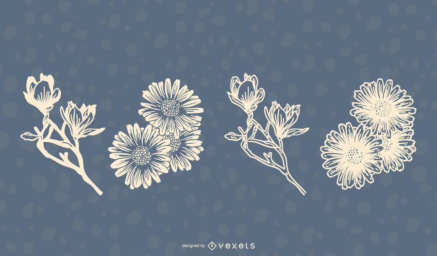 Blumen-Illustrations-Satz