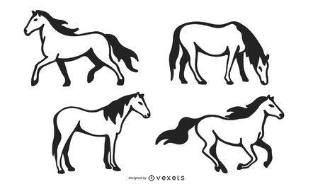 Stroke horse vector set