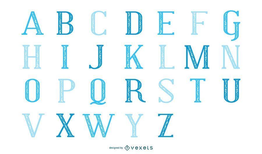 Conjunto de letras azules clásico