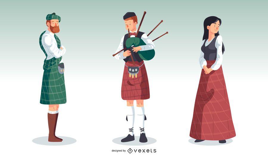 Ilustración de ropa tradicional de las tierras altas