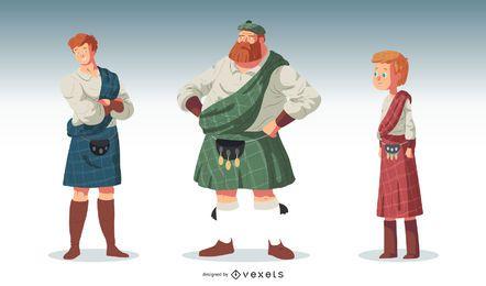 Conjunto de vectores de caracteres de pueblo escocés