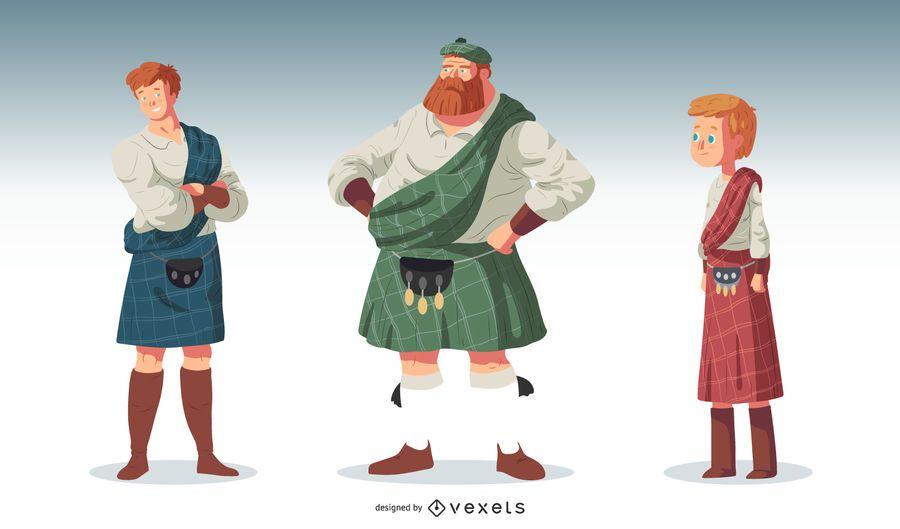 Scottish People Character Vector Set