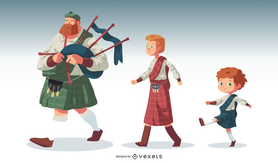 Conjunto de vectores de personajes escoceses