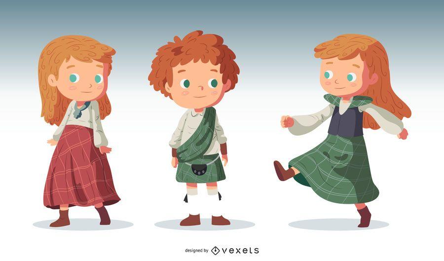 Conjunto de vetores de personagem de crianças escocesas