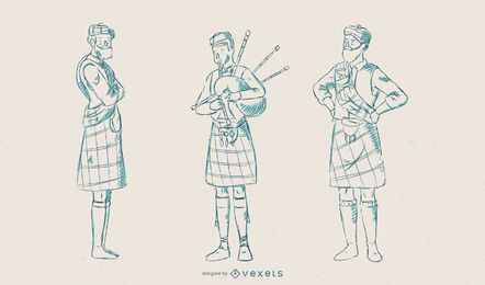 Scotsman-Illustrations-Vektor-Satz