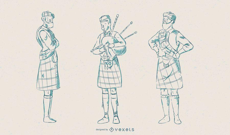 Conjunto de vetores de ilustração de escocês