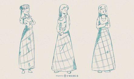 Conjunto de vectores de mujer escocesa