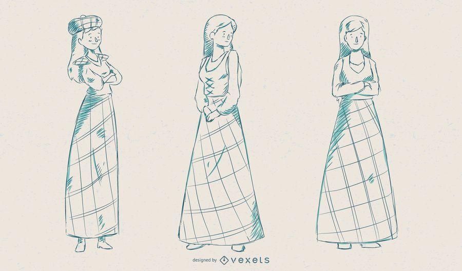 Conjunto de vetores de mulher escocesa