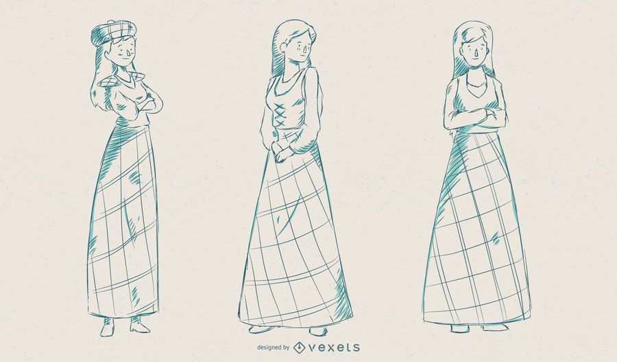Scottish Woman Vector Set