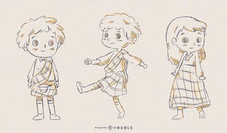 Conjunto de vectores de niños escoceses