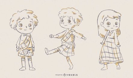 Scottish Children Vector Set