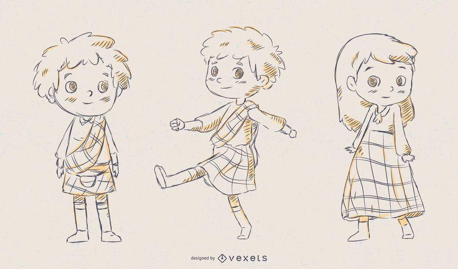 Conjunto de vetores de crianças escocesas