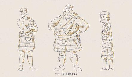 Conjunto de vectores de ilustración de hombre escocés