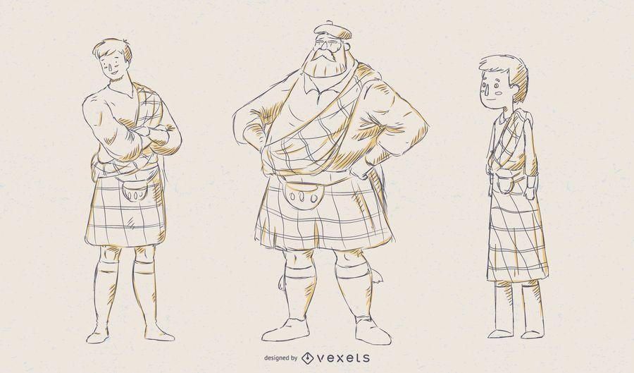 Scottish Man Illustration Vector Set
