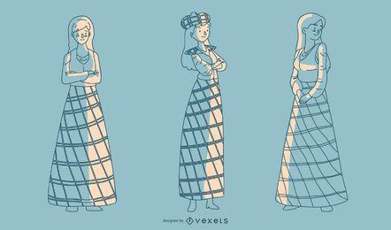 Senhoras escocesas desenhadas mão