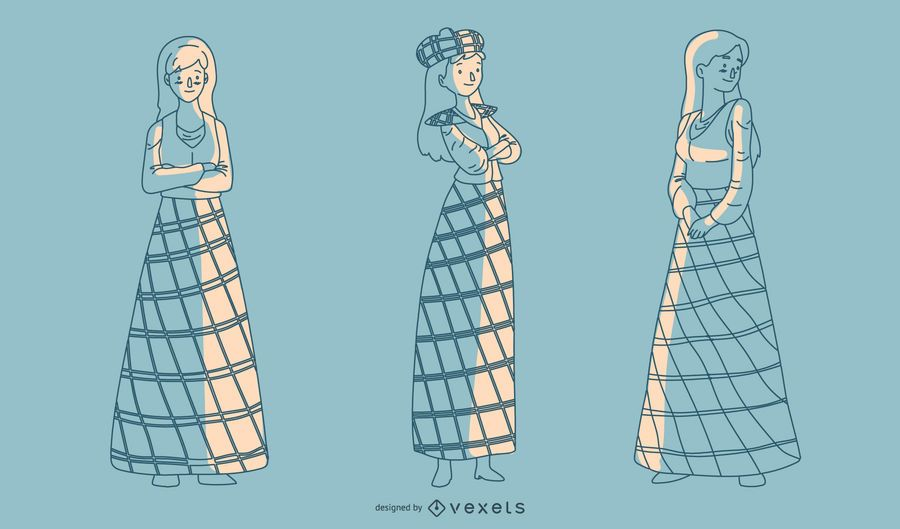 Dibujados a mano damas escocesas