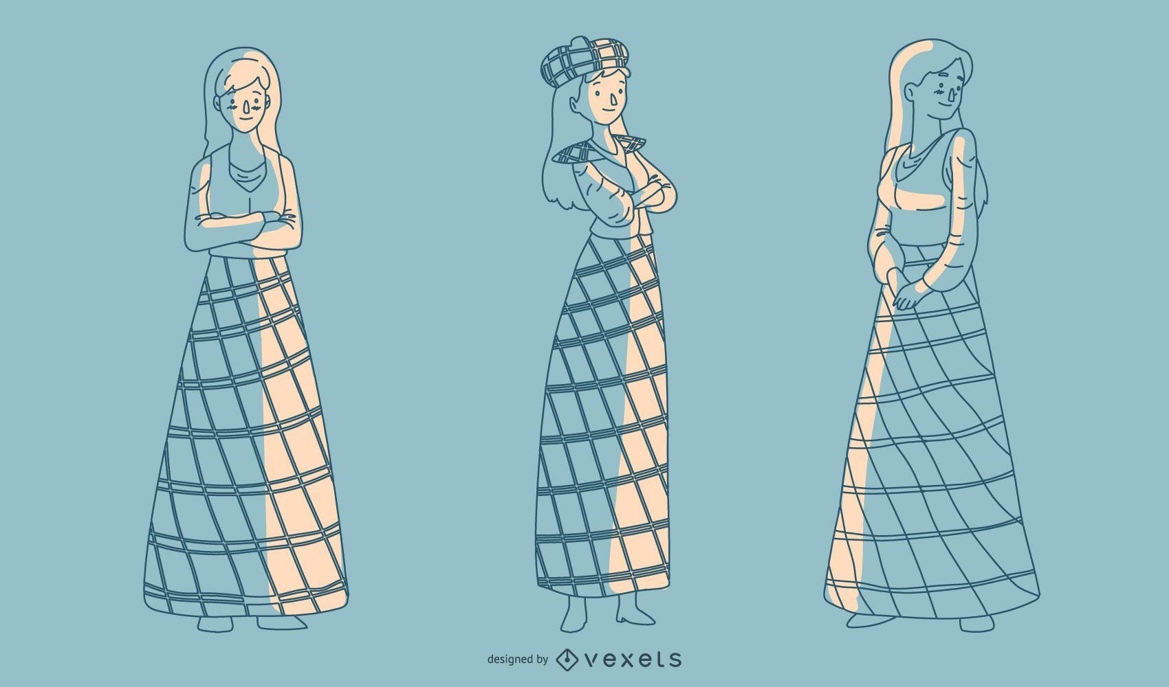 Senhoras escocesas desenhadas à mão