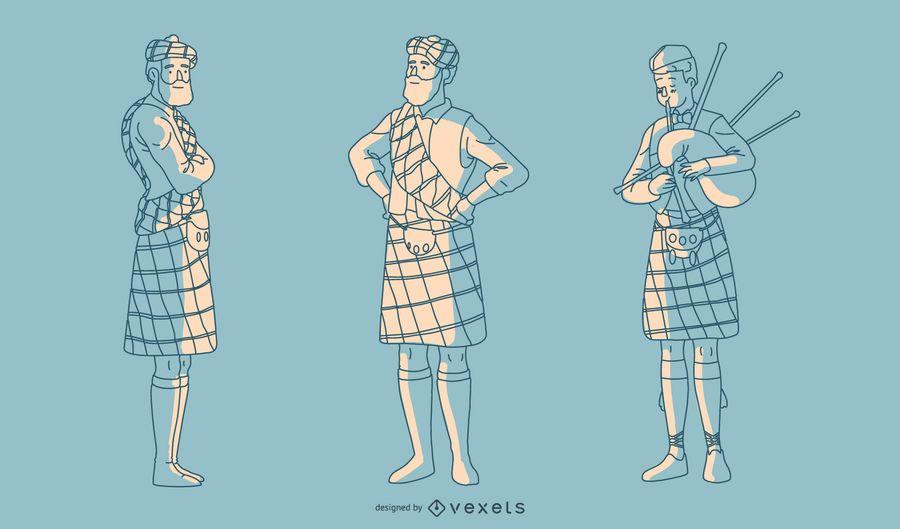 Handgezeichnete schottische Männer