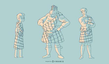 Mão desenhada escoceses