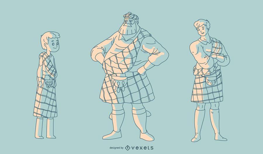 Hombres escoceses dibujados a mano