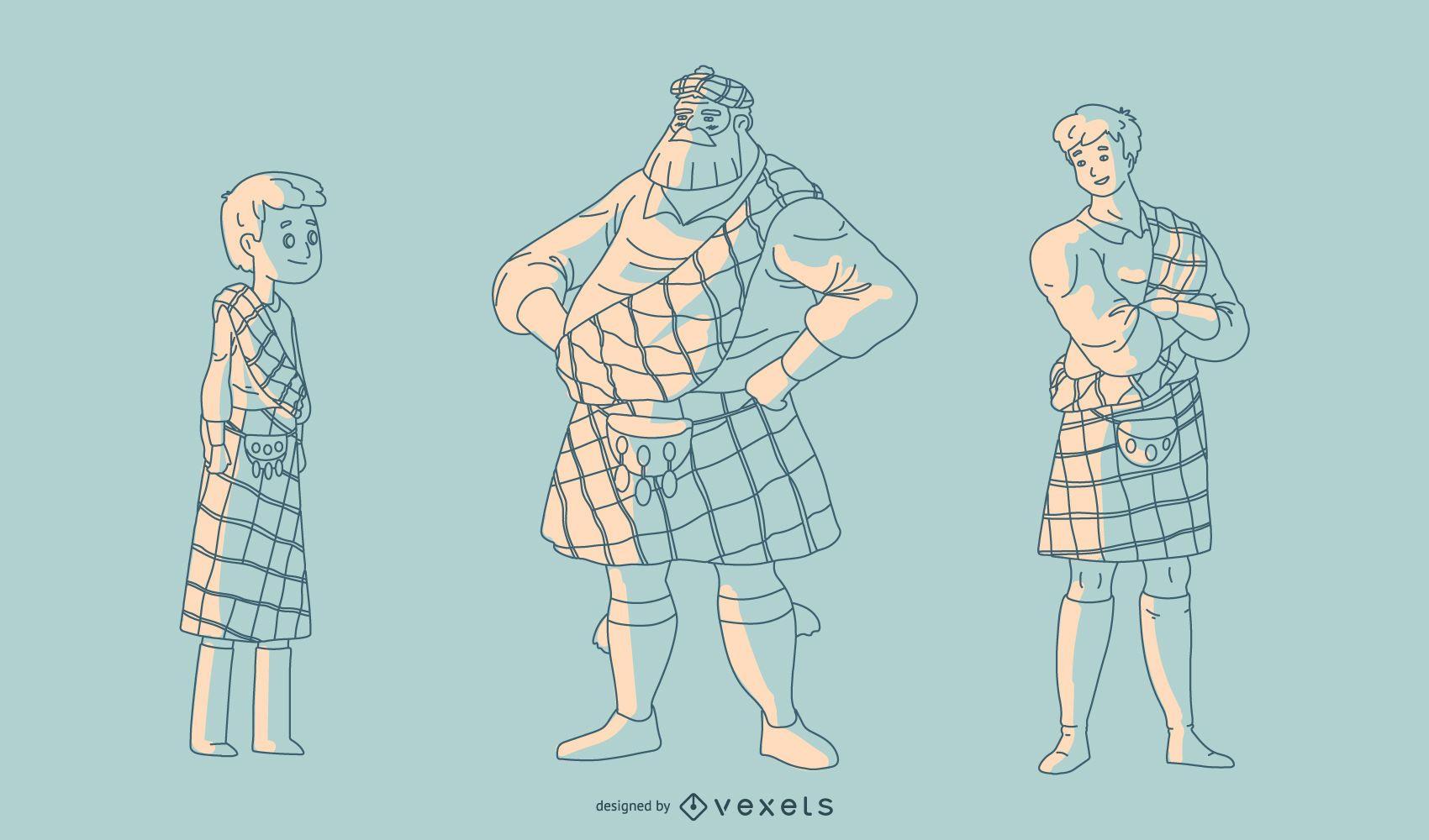 Hand Drawn Scottish Men