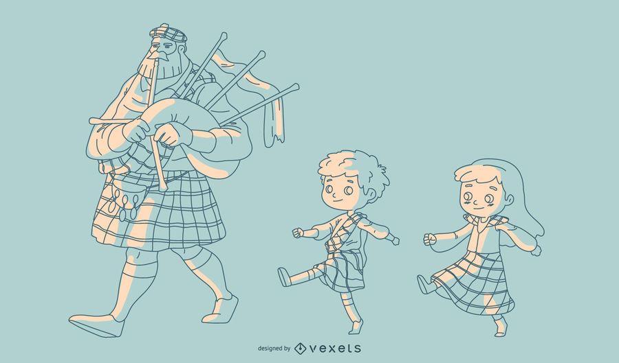 Familia escocesa dibujada a mano